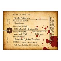 Bloody Toe Tag Halloween Antique Grunge Asylum Invitation - Remember the Holloweens of yesterday. Creepy Halloween Party, Vintage Halloween, Halloween Decorations, Spooky Scary, Insane Asylum Halloween, Halloween Ideas, Halloween Labels, Halloween Parties, Halloween Cards