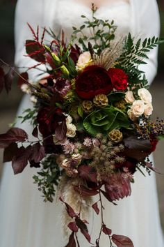 Burgundy, marsala, oxblood, bush Fall bridal bouquet with pampas grass, kale, peonies, roses, ferns