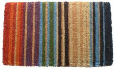 Rainbow Stripe Hand Made Extra Thick Coir Doormat 18  x 3