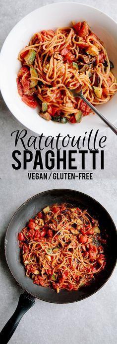 One-Pot Ratatouille Spaghetti (Vegan + Gluten Free) @minimalistgigi https://mammahealth.com/gluten-free/