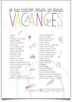 Idées : occuper les enfants pendant les vacances (à imprimer) - NemGraphisme