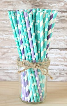 Turquoise, purple and teal snowflake paper straws-set of 25, frozen paper straws, purple and teal party straws, frozen cake pops by GlitterSaturday on Etsy