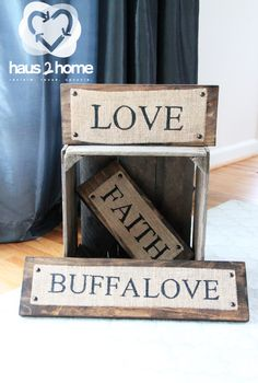 Wood letter blocks can be used for a wall hanging or home decoration.Made from reclaimed wood and each sign is totally customizable.  Small sizes are $22 and large sizes are $32.  To order, contact Jackie Hausler at jackie_haus2home@yahoo.com or visit our website at www.haus2home.com