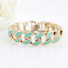 Sweet Colored Glazed Hollow Alloy Strand Bracelet For Women (BLUE) | Sammydress.com