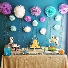Mermaid Birthday Party Table.  Minus the mermaids.  I love the wall.