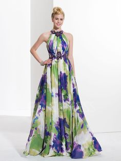 ericdress.com offers high quality  Ericdress A-Line Halter Pleats Printed Sequins Prom Dress Designer Dresses unit price of $ 121.82.