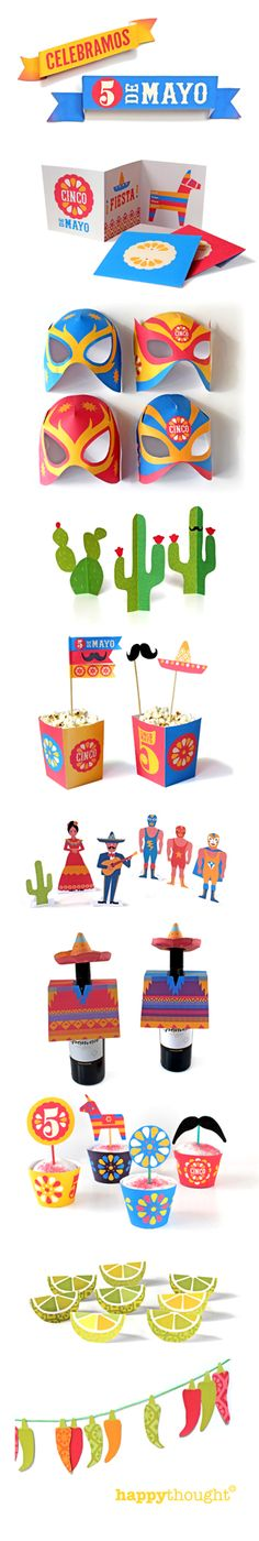 Ay carumba! Happythought's Cinco de Mayo party printables instant download at http://printablepaperproducts.com/festival/cinco-de-mayo-printables party invites, cupcake wrappers, table ornaments, lucha libre masks, garlands, bottle ponchos and more, plus Mexican paper craft tutorials and templates!  Fiesta baby!