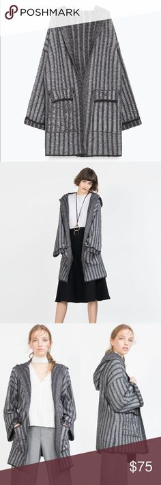 Zara Wool Striped Hooded Oversized Cardigan Coat NWT Zara Wool Blend Striped Hooded Coat in Gray Open Oversized Cardigan   • size: medium  • color: gray  • closure: open draped hooded coat with wide sleeves  • style: Cardigan sweater coat  • material: 47% Cotton, 25% Polyester, 22% Acrylic, 5% Wool, 1% Elastane Zara Jackets & Coats