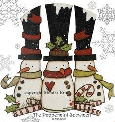 The Peppermint Snowmen Primitive Craft Full Size Pattern