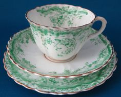 Late Victorian Teacup Trio Green Floral by AntiquesAndTeacups