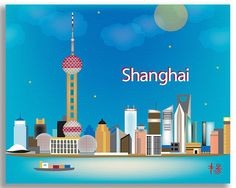 Shanghai Skyline Art Print China Travel Print Blue Shanghai