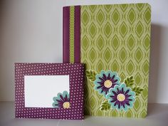 A covered notebook makes a great gift - Stampin' Up! Flower Patch Bundle and Park Lane DSP - Oakfield Crafts