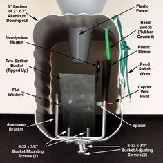 A tipping bucket rain gauge is a clever way to measure rainfall. Learn how to add wireless capability, a PICAXE microcontroller, and an LCD display to your weather station. Weather Instruments, Rain Gauge, House Wiring, Neodymium Magnets, Diy Electronics, Home Automation, Gauges, Bucket, Tips