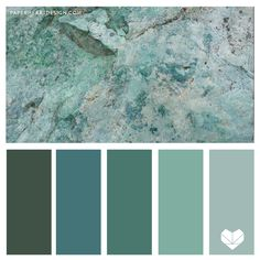 Jade Rock Color Palette, Shades of Green - Six Geology Inspired Color Schemes - Paint Color Combos, Room Color Schemes, Wall Paint Colors, Colour Pallete, Color Combinations, Sponge Painting Walls, Wall Color Combination, Palette Wall, House Color Palettes