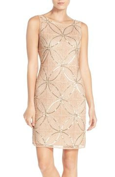 Pissarro Nights Embellished Mesh Sheath Dress available at #Nordstrom
