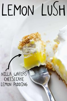 This lemon lush is a classic recipe from years ago that you'll want to make every summer! Layers of cheesecake and lemon pudding with a crisp Nilla wafer crust! #lemon #cheesecake #nobake #dessert Lemon Lush Recipe, Lemon Lush Dessert, Lemon Dessert Recipes, Lemon Recipes, Easy Desserts, Delicious Desserts, Yummy Food, Jello Recipes, Pudding Desserts