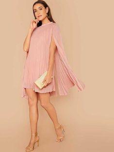 HOT SALE | Vestido capa fruncido de cuello alto | Moda de Mujer | SHEIN México Cape Dress, Dress Out, Belted Dress, Pink Fashion, Fashion Dresses, Floral Bardot Dress, Vestidos Color Rosa, Casual Dresses For Teens, Thing 1