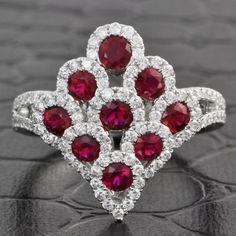 Ruby and Diamond Palmette Ring