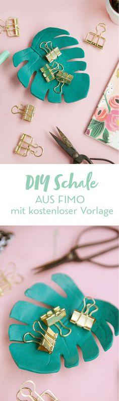 Kreative DIY-Idee zum Selbermachen: Hübsche DIY Schale in Monstera Form basteln   mit DIY Anleitung und kostenloser Vorlage