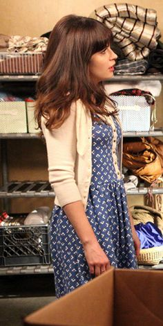 Zooey Deschanel's Blue and white printed dress with button front on New Girl. Outfit Details: http://wwzdw.com/z/4569/ #WWZDW
