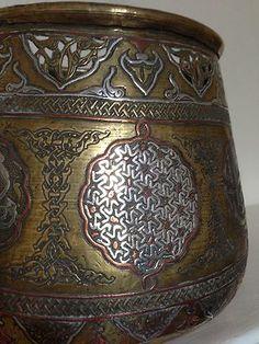 Museum Quality Antique Islamic Damascus Silver Inlaid Brass Planter Vase 19C
