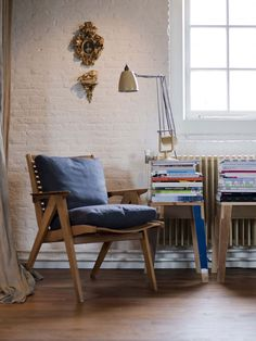 a good chair- amsterdam loft home interior accessories by uxus design White Wash Brick, White Brick Walls, White Bricks, Home Interior Accessories, Painted Brick Walls, Interior Architecture, Interior Design, Living Spaces, Living Room