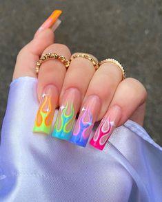 Crazy Acrylic Nails, Colored Acrylic Nails, French Acrylic Nails, French Tip Nails, Acrylic Nail Designs, Crazy Nails, Neon Yellow Nails, Neon Nails, Dope Nails