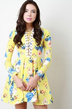 Plunging V Laced Floral Print Longsleeve Dress