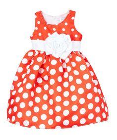 Look at this #zulilyfind! Red Polka Dot A-Line Dress - Toddler & Girls #zulilyfinds