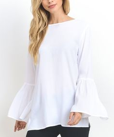 Another great find on #zulily! Off-White Bell-Sleeve Top #zulilyfinds