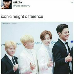 i hate when i saw woozi standing beside mingyu, because i cant resist the temptation to laugh xD