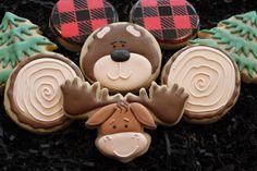 Bear moose cookies, cabin cookies, red plaid, christmas cookies, holiday gifts, custom cookies reindeer, logging, decorated sugar cookies by 4theloveofcookies on Etsy https://www.etsy.com/listing/240836926/bear-moose-cookies-cabin-cookies-red