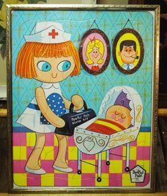 1967 New Born PeePul Pals Tray Puzzle ready by TabsNostalgicArts