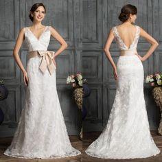Formal Lace evening Dresses Sexy V Neck Bridal Bride Bridesmaids Wedding dresses #GRACEKARIN #BallGown #Cocktail