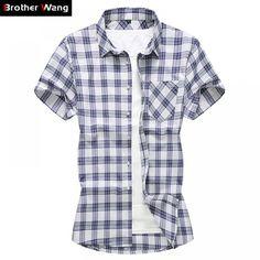 Plaid Shirt Mens Clothing Casual Blouse Men Wedding Dress Shirts Men Slim fit Summer New 2019 Wedding Dress Men, Loose Shorts, Shirt Sleeves, Casual Shirts, Men Casual, Plaid, Mens Tops, Dress Shirts, Clothes