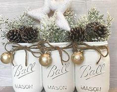White Christmas Decor, White Christmas Mason Jars, Christmas Mason Jars, Christmas Table Decor, Snowflake Decor, Rustic Christmas Decor