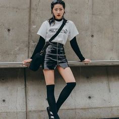 """Delux Bomba THE First season _ """"A-TRAK"""" Model Zizian in A-TRAK Tshirts at Seoul Fashion Week _ALL RIGHTS RESERVED Seoul Fashion, Leather Skirt, Seasons, Skirts, Model, T Shirt, Life, Supreme T Shirt, Skirt"""