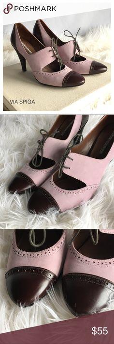 e77f2ace0f71a (Sz 8.5) VIA SPIGA Kelis Blush Suede Lace Up Heels Gorgeous VIA SPIGA heels