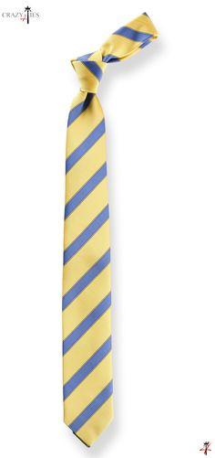 Cravatta Regimental in Seta Mogador Gialla e Royal Blu - #cravatta #cravatte #ties