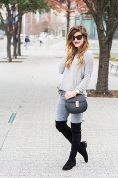 Ways to Wear Grey Jeans - All grey outfit monochromatic look // lowland stuart weitzman over the knee boots + chloe drew crossbody bag