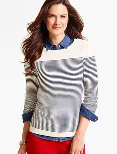 Zip-Shoulder Block-Stripe Sweater - Talbots