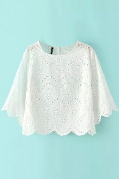 LUCLUC White Cut-Out Lace Scoop T-Shirt