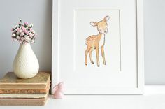 Deer Woodland animal Fawn New Born Art Picture by DaisyandBumpArt