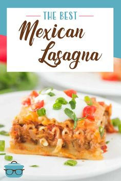 The Best Mexican Lasagna is layers of pasta, ground beef, refried beans, shredded cheese, alfredo sauce, salsa. Amazing! Vegetarian Recipes Dinner, Easy Dinner Recipes, Appetizer Recipes, Mexican Food Recipes, Breakfast Recipes, Hamburger Meat Recipes, Beef Recipes, Cooking Recipes, Healthy Recipes