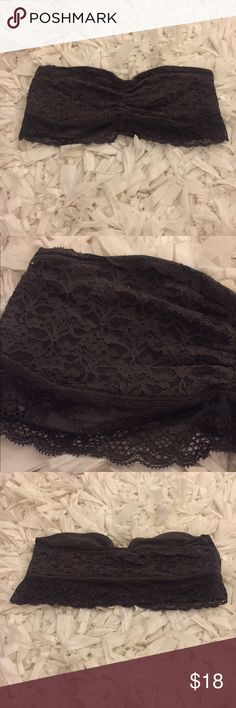Aerie Strapless Bandeau Dark grey, lace, strapless bandeau from aerie. Little lace trim detailing on the bottom. Basically like new!! aerie Intimates & Sleepwear Bandeaus