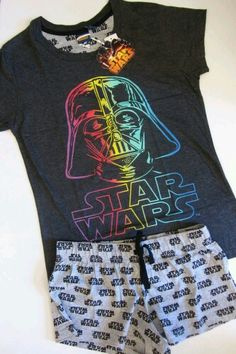 Primark Ladies STAR WARS Darth Vader Rainbow Shorts T Shirt Pyjama Set in Clothes, Shoes Accessories, Womens Clothing, Lingerie Nightwear Cute Pjs, Cute Pajamas, Pajamas Women, Pajama Set, Lazy Day Outfits, Cool Outfits, Fashion Outfits, Outfit Sets, Fashion Clothes