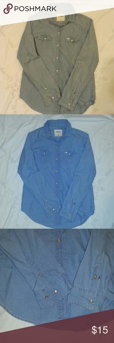 Abercrombie Kids Chambray Shirt sz XL Abercrombie & Fitch Kids Chambray Clasp Button up top sz 3XL.Classic always in style. True color shown in picture without flash.  Shoulder to bottom-approx 24 inches  Armpit to Armpit-approx 17inches  Shoulder to Wrist-approx 23 inches  Width-approx 16 inches abercrombie kids Shirts & Tops