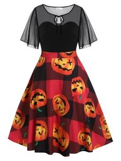 Plus Size Vintage Pumpkin Face Print Halloween Swing Dress , Plus Size Halloween, Halloween Dress, Halloween Ii, Halloween Costumes, Pin Up Dresses, Plus Size Maxi Dresses, Dresses For Teens, Vintage Dresses For Sale, Modern Vintage Dress