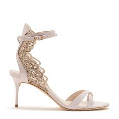 Pale pink leather sandal with cross over front straps and finished with a rose gold glitter Angel Wing detail.