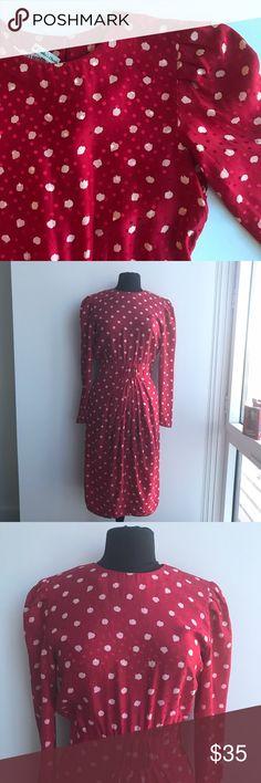Vintage Silk Red w White Polka Dot Dress Vintage 90's redo of classic dress. Red w White Polka Dot, Silk B36 W27 H44 L43 Vintage Dresses Midi